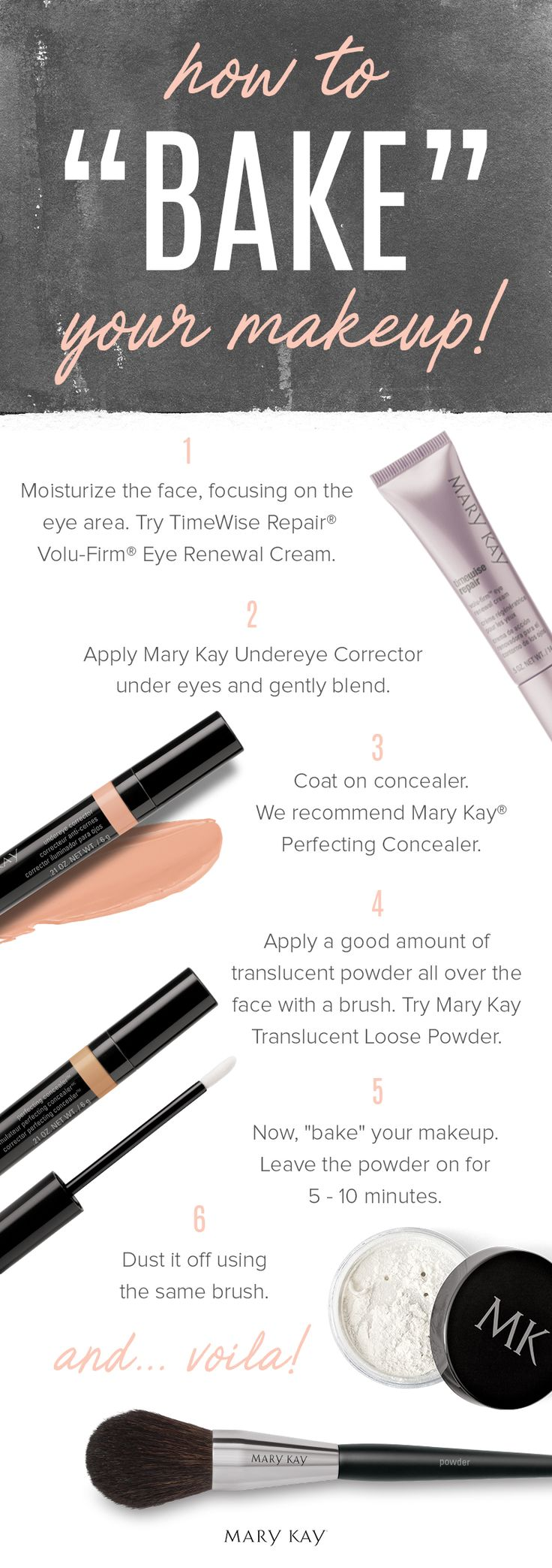 """Bake"" your way to a flawless-looking face! The key to this beauty trend is letting translucent powder sit on your face for five to 10 minutes, allowing the heat from your face to set your base foundation and concealer. 
