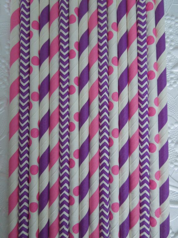 50 PINK & PURPLE Paper Straws Mix Stripes, Chevron and Dots DiY Flags- Kids Birthday Baby Shower Princess Party Ships Fast! Free Tracking $5.99