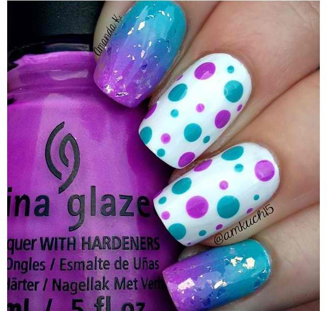Purple, white, and blue polka dot nails