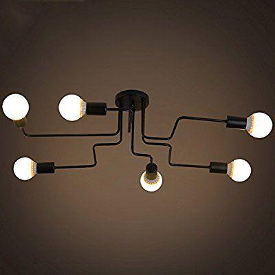 BAYCHEER Industrial Deck/Ceiling Light - 8 Lamp Holder Wrought Iron Lamp Chandelier Pendant Light 6 lampen ...: Amazon.co.uk: Lighting
