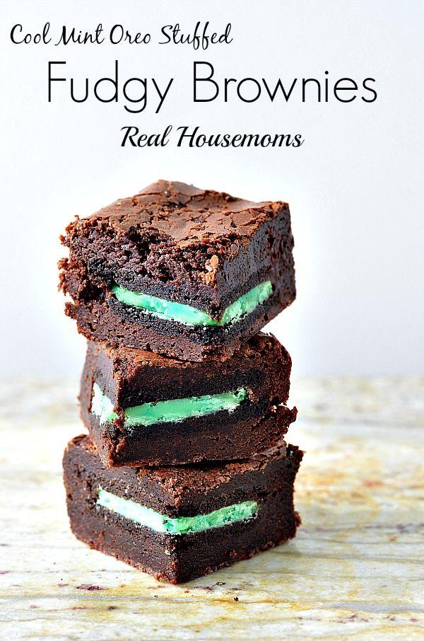 Cool Mint Oreo Stuffed Fudgy Brownie   Real Housemoms   #brownies #dessert #Oreo