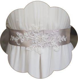 Braut Gürtel taupe mit Spitze Vintage. Vintage Brautgürtel mit Spitzen Applikation. Wedding Belts, Sashes, Ribbons- Bridal Accessories