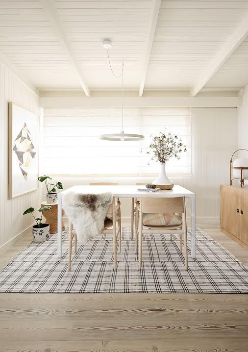 Simone Haag's Log Cabin in Dulux 2015 campaign featuring our black and white tartan kilim.