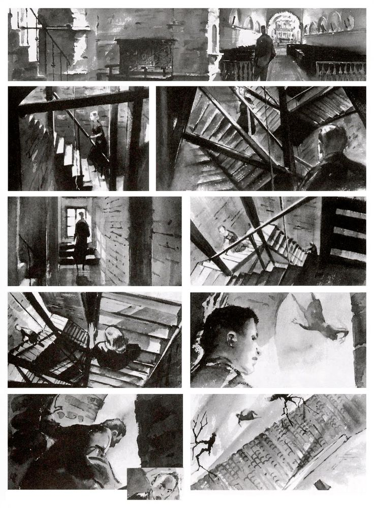 "Storyboard for Alfred Hitchcock's 'Vertigo' ""The sharply increasing pitch of the angles explain Stewart's oncoming vertigo and inability to reach Novak. Hitchcock planned a complex zoom-in, pull-out camera shot with rotation to achieve this. Very complex and highly effective"" KB"