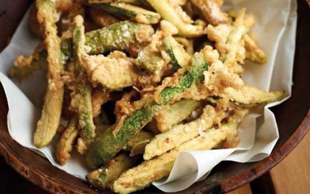 Deep-fried courgette matchsticks
