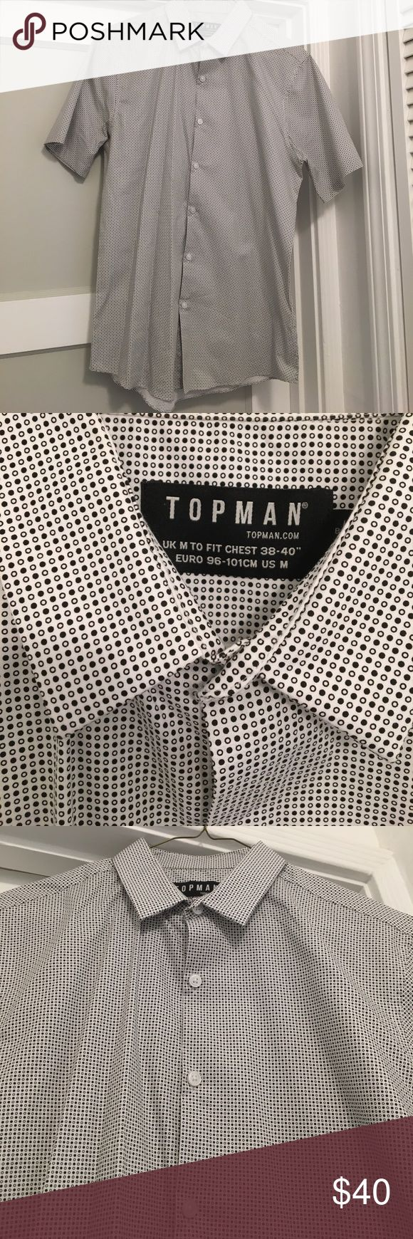 Topman Short Sleeve Dress Shirt Size Medium NWOT Topman Short Sleeve Dress Shirt Size Medium in colors white/black. This was never worn because it didn't fit me. NWOT. Topman Shirts Dress Shirts