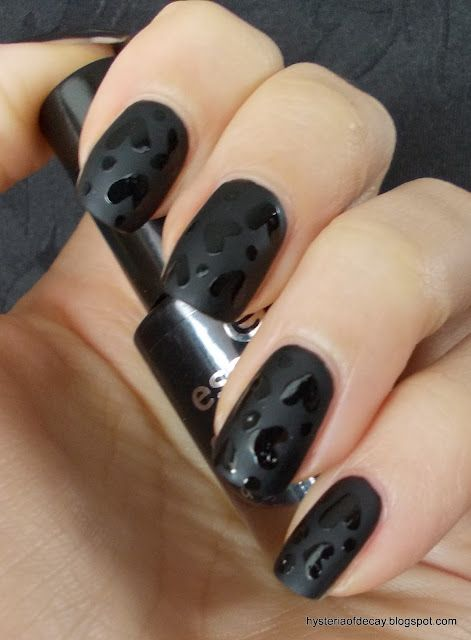 black hearts on black matte.  Love This! Try with red for Valentines