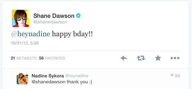 Shane Dawson Wishing Ex-Girlfriend Nadine Sykora A Happy Birthday On Twitter