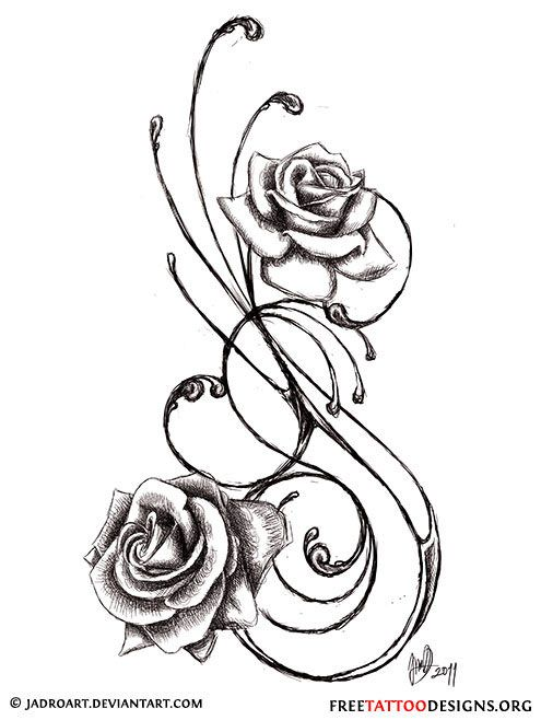 Swirly black rose tattoo design