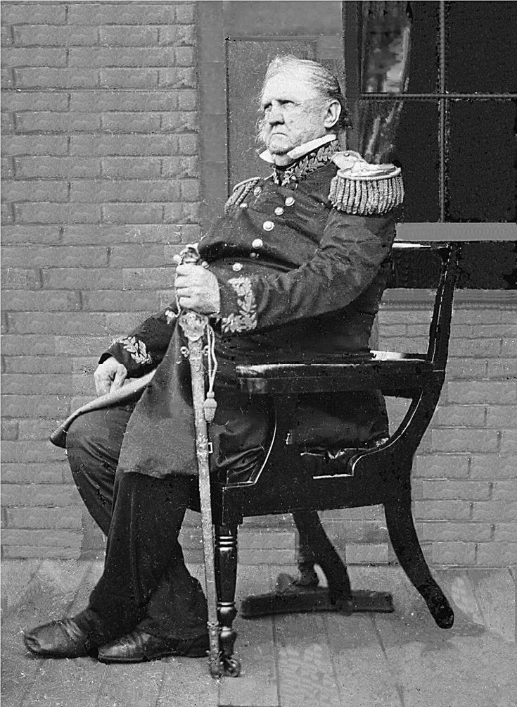 """Gen. Winfield Scott, 1861. A.k.a. """"Old Fuss and Feathers"""" longest serving chief of the US Army in history. Served as general longer than anyone else in history. His career spanned 47 years. He conceived the Anaconda Plan that was used to defeat the Confederacy. He ran unsuccessfully for president in 1852. He died in 1866 at the age of 79."""