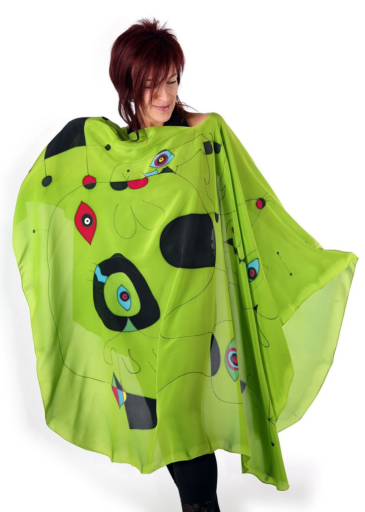 Lime Miro - Hand painted silk cape by Natasha Foucault, represented by Human Arts Gallery in Ojai, CA.