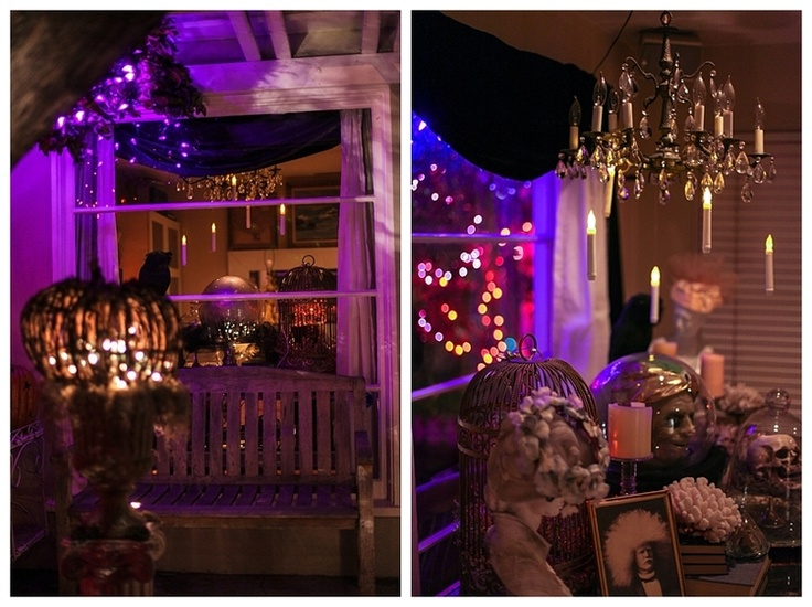 Halloween decorations. Halloween porch looking from the outside in and the inside out.