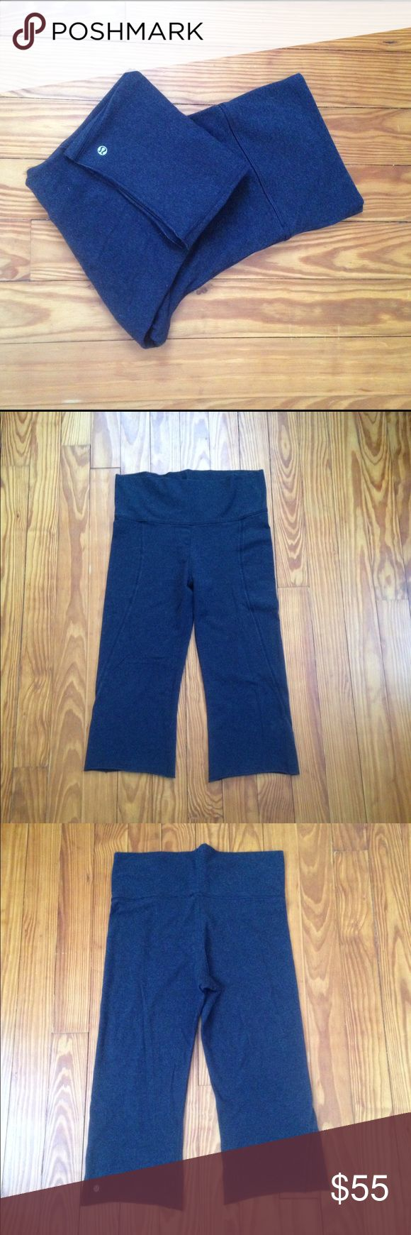 Lululemon Athletica Charcoal Leggings Cropped with curved seams down the front. lululemon athletica Pants Capris