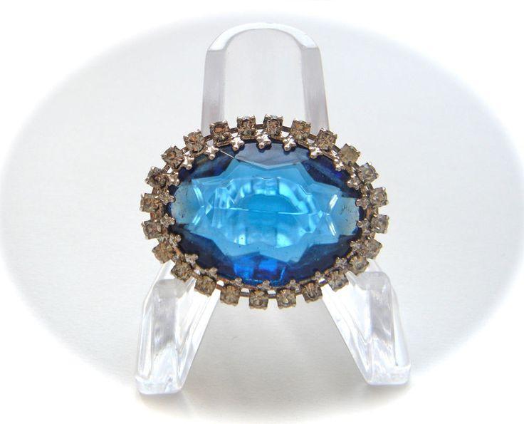 Vintage Czech Glass Brooch Pin Silver Tone Sapphire BLUE Cabochon Rhinestone #Unbranded