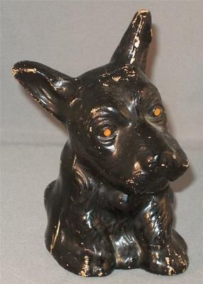 Vintage Paper Mache Black Scotty Scottie Dog Bank Dogs