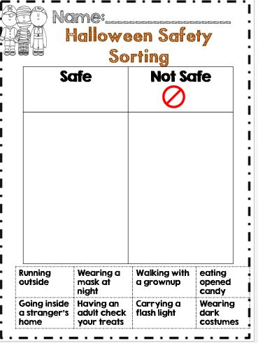 Halloween safety sorting