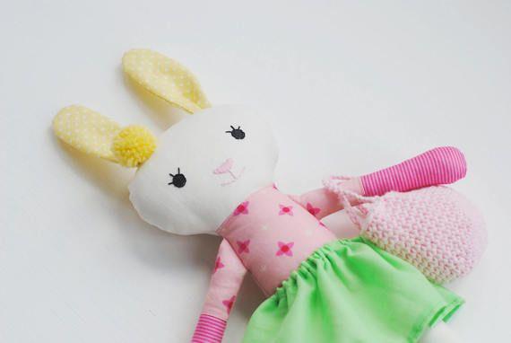 Stuffed easter bunny, rabbit, rag doll bunny, stuffed animal, pompon doll, easter basket, romantic