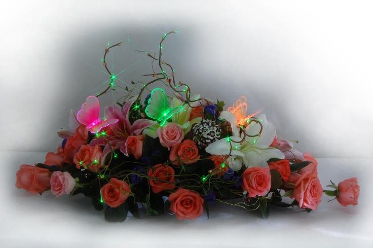 Pink, Green and Orange Sparkle Lite Butterflies.