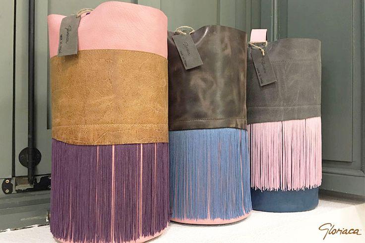 Bandolera Bag Piel Fleco Rosas