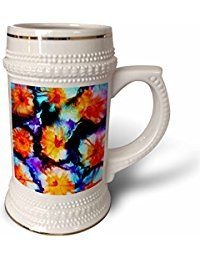 for collectors,Colorful Abstract Flowers Stein Mug is a great way to enjoy any beverage. This 22 oz ceramic stein features a large sturdy handle, gold banding at rim and base, along with a decorative casting throughout. Why drink out of an ordinary mug when a custom printed mug is so much cooler? Image is printed on both sides. Hand washing is recommended, not for use in microwave.
