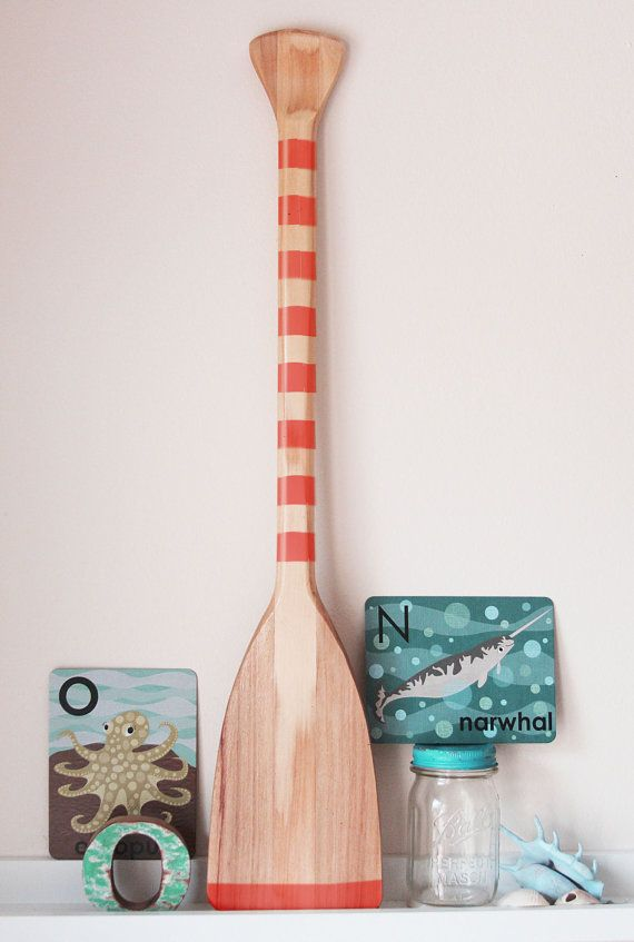 Beach Decor Paddle Red Wood Nautical by SEASTYLE by SEASTYLE