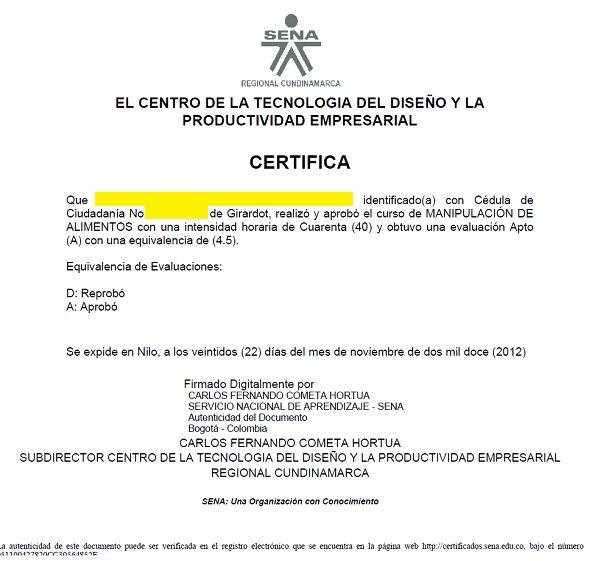 SENA Sofia Plus Certificado