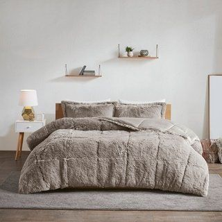 Intelligent Design Leena Shaggy Faux Fur Comforter Set 2-Color Option (Twin - Twin XL - Grey), Gray, ID-Intelligent Designs