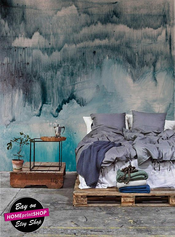 Watercolor splash drips abstract painting wallapaper wall art decor - Removable Self Adhesive peel and stick wallpaper / wall mural  #30