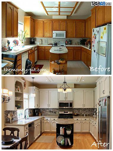 Modernizing an 80's Oak Kitchen - note the use of trim on the ceiling to cover up the old light fixture's scarring. We can put a board over the part of our ceiling and trim it up, paint it white and make it look custom!
