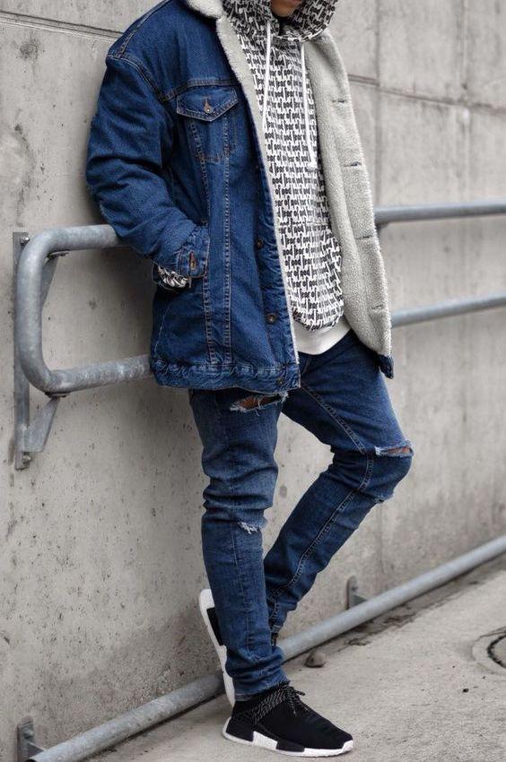 Jaqueta Jeans. Macho Moda - Blog de Moda Masculina: Jaqueta Jeans Masculina: Pra Inspirar e Onde Encontrar. Moda Masculina, Roupa de Homem, Moda para Homens. Jeans com Jeans, Adidas NMD, Sobreposição de Peças, Moletom Estampado