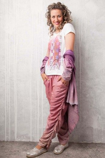 Silk pants. By Adéla Urbanová Fancy and colorful designed story. Handmade coloured, dyed and printed items.