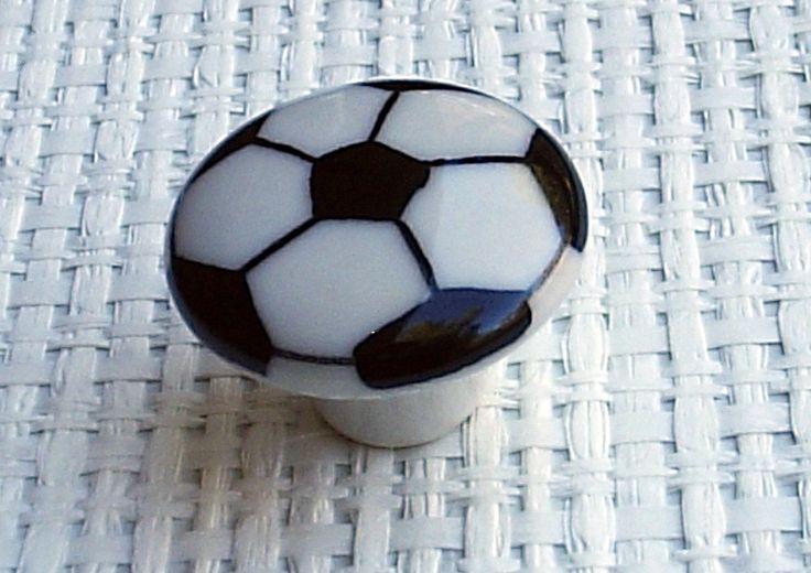 Set Of 6 Soccer Ball Cabinet Knobs Drawer Pulls 1 1/2  Kids Room Sports Decor White and Black. $18.00, via Etsy.
