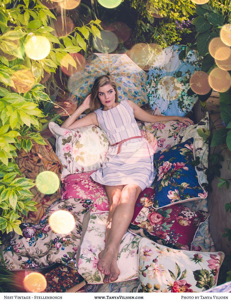 Nest Clothing Sailor Stripe Bow dress and piles of squishy Nest cushions! Photography Taya Viljoen