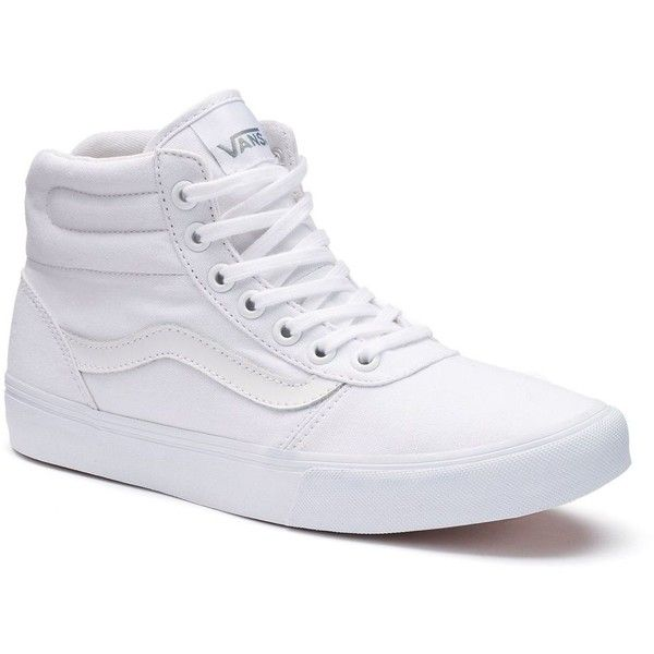 Vans Milton Women's High-Top Skate Shoes, Size: 10, White (£42) ❤ liked on Polyvore featuring shoes, sneakers, white, vans high tops, high top sneakers, white canvas shoes, skate shoes and vans sneakers