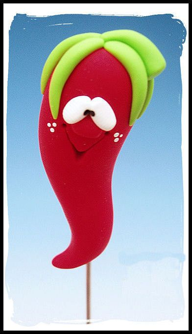 Polymer Clay Red Hot Chili Pepper Cake Tester