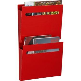 red powdercoat wall pocket file • cb2