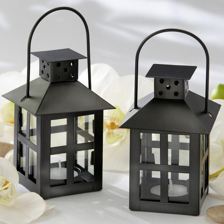 Luminous Black Tea Light Lantern Wedding Centerpiece   #exclusivelyweddings   #blackandwhitewedding