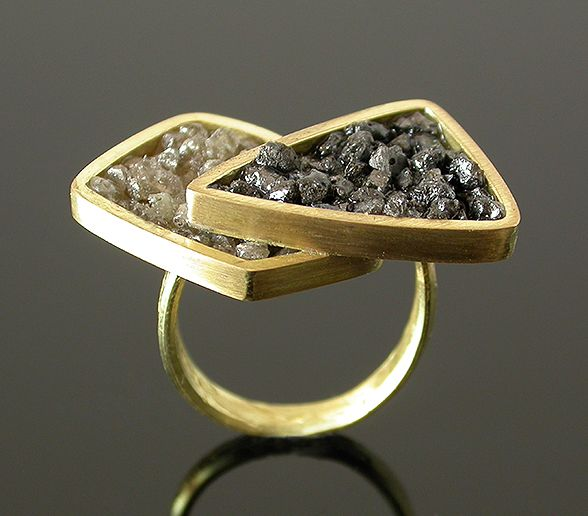 Layered Ring by Elaine Cox  Gold & Raw Diamonds