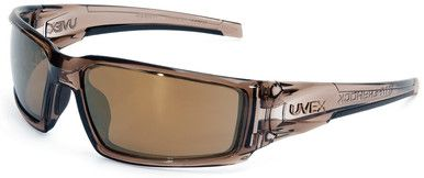 Uvex Hypershock Safety Glasses with Smoke Brown Frame and Gold Mirror Lens