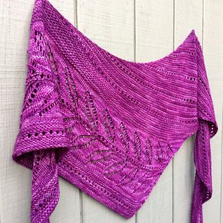 21 inches deep 90 inches long Worked as written Second skein added on row 2 of tenth repeat of eyelet section Started part two of Leaf Motif with 79.5 grams of yarn BO using size 9 needle Quick, b...