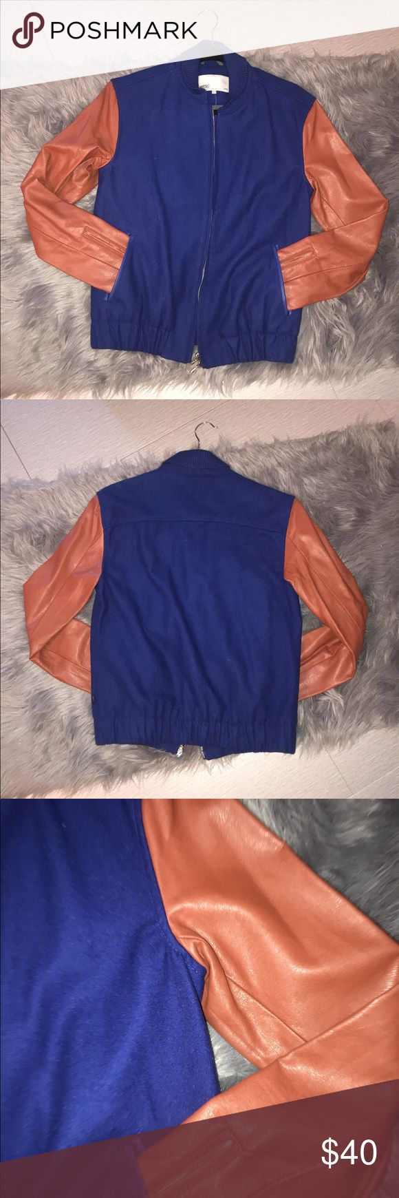 ‼️SALE ‼️ wool varsity style jacket (BN)(NWT) Cool   Wool and faux leather varsity jacket blue and brownish orange....leather sleeves brand new never worn really nice jacket Urban Outfitters Jackets & Coats