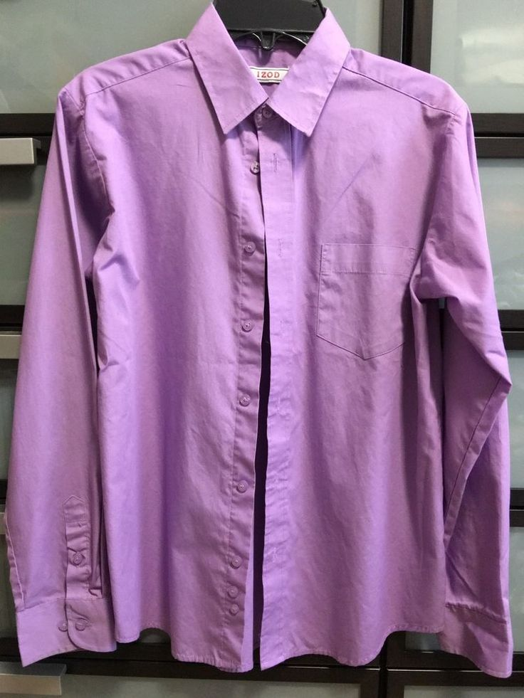 (EUC) IZOD Boys (Sz 14) Long sleeve purple dress shirt(55% Cotton/45% Polyester)  | eBay