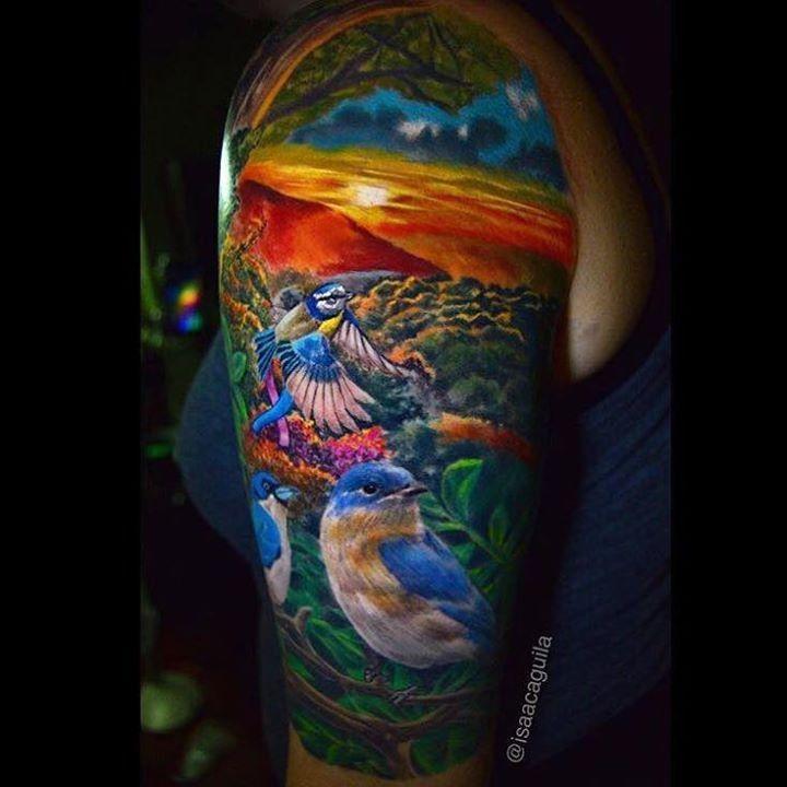 Olio birds tattoo by isaacaguila from bearcat tattoo