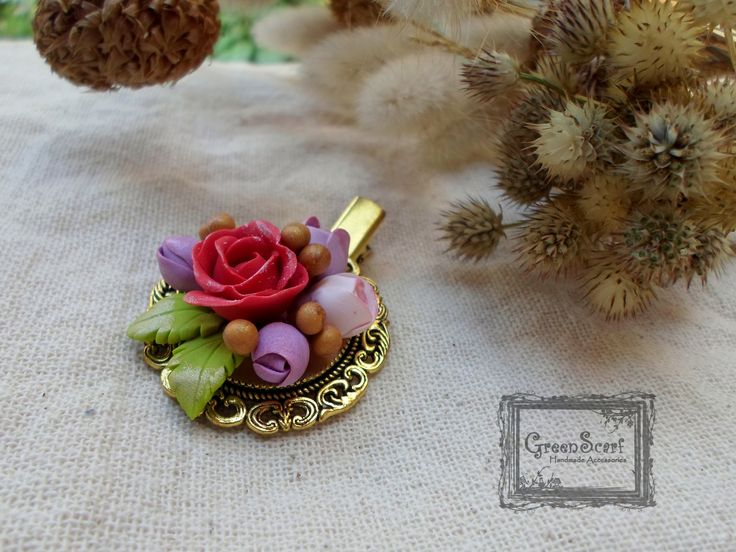 polymer clay autumn roses
