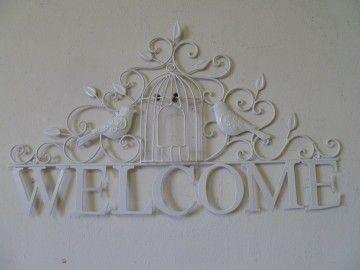"""Clayre & Eef welkomstbord """"Welcome"""" met vogelkooi"""