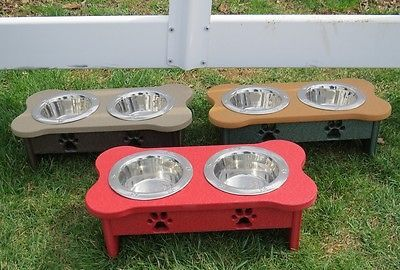PET FEEDER Handmade Poly Elevated Dog Cat Food Water Bowl Stand 2 Qt Stainless Steel ~ ALL COLORS AND SIZES