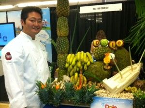 Dole at BlogHer. This is the creator who made this amazing fruit carving.