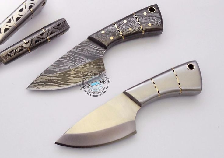 "2 pieces! 5.50"" Custom made Beautiful Damascus and D2 Steel skinner Knife (1034) #UltimateWarrior"