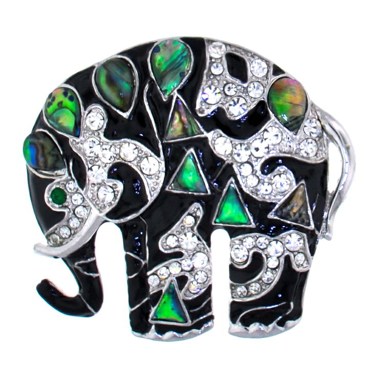 Gorgeous black & silver elephant brooch with mother of pearl insets. great gift for elephant lovers!