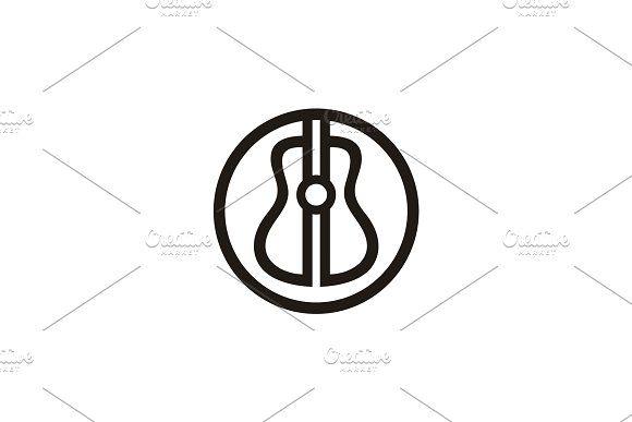 Simple Guitar Icon Initials BB Logo Musical logo design